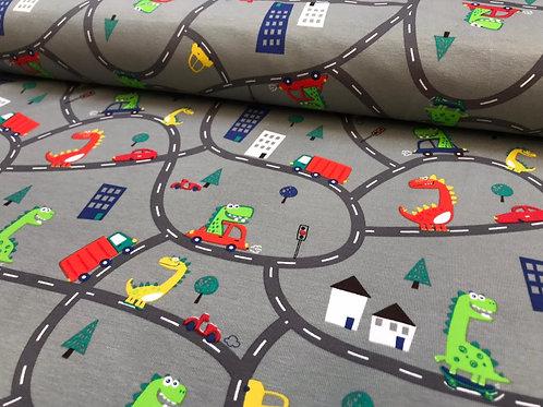 Kinderbaumwolljersey, Dinos auf der Autobahn auf grauem Hintergrund