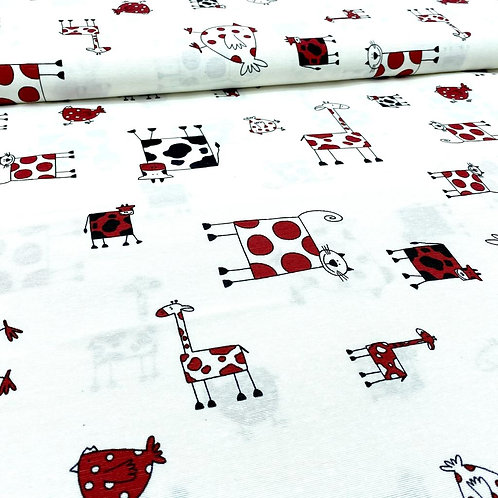 Canvas Stoff, Baumwollstoff, Dekostoff, Tiere auf weißem Hintergrund