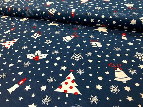 Baumwollstoff, Weihnachtsmuster, Rentiere, Schneemänner, weiß, dunkelblau