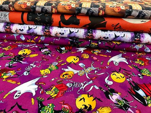 Baumwollstoff, Halloweenprint, gelb, orange, weiß, lila, schwarz