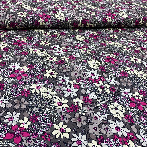 Viskosejerseystoff, florales Muster auf grauem Hintergrund