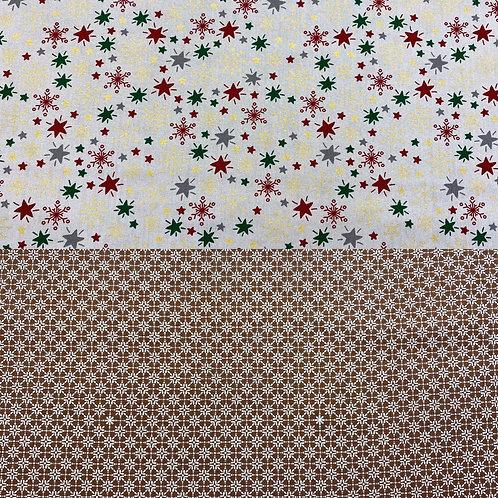 Baumwollstoff, Weihnachtsmotiv, Sterne auf grauem oder braunem Hintergrund