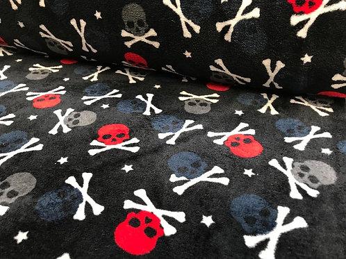 Doppelseitiger Fleece ,Sterne, Totenköpfe, Flamingos, Herzen, rosa, schwarz