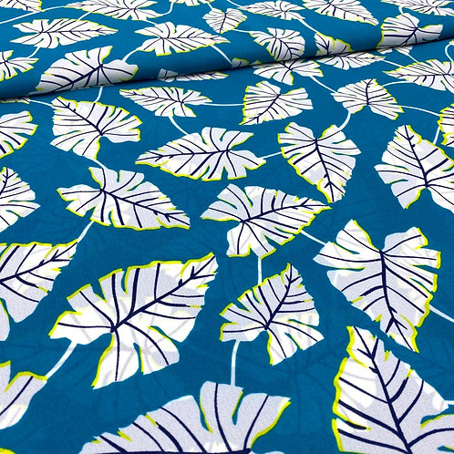 Polyacrylstoff, Blusenstoff, Blättermuster auf türkisem Hintergrund