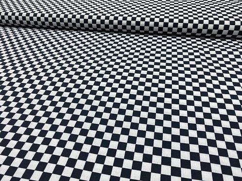 Baumwollstoff, Digitalprint, Karomuster schwarz-weiß