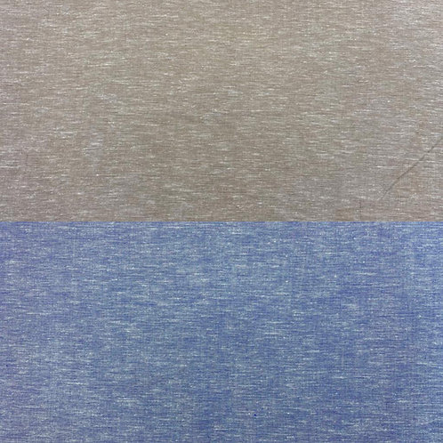 Leinenstoff, Uni, beige, blau