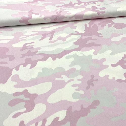 Stretch, Baumwollstoff, Hosenstoff, Camouflage, rosa, weiß