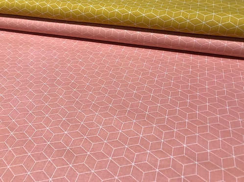 Baumwollstoff, Geometrische Muster, senfgelb, rosa, weiß