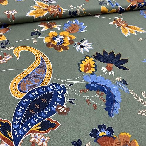 Stretch, Baumwollstoff, Hosenstoff, Paisley, Blumen auf kahkifarbenem Hintergrun