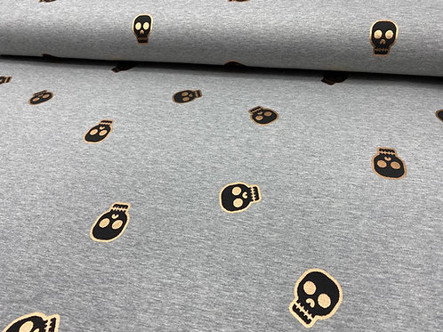 Jerseystoff, Sweatshirtstoff, Totenkopf, metallic Print, gold, schwarz, grau