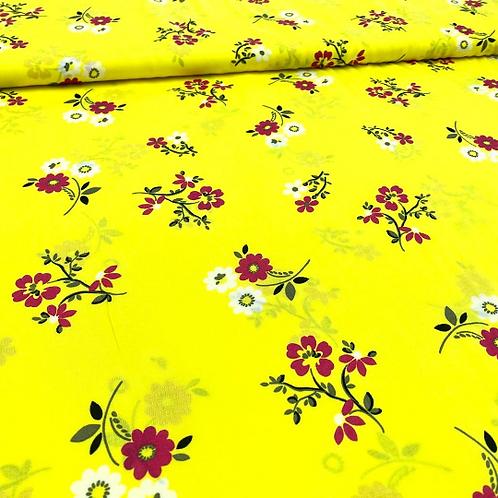 Viskose, Sommerstoff, Blumen auf gelbem Hintergrund