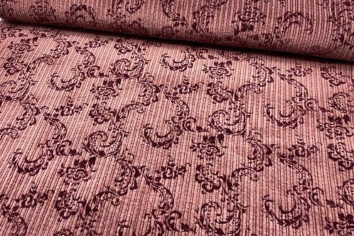 Cordstoff, Vintage, florale Muster auf braune, Hintergrund