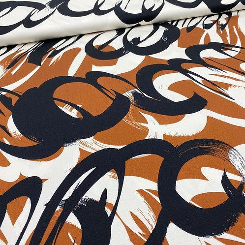 Stretch, Baumwollstoff, Hosenstoff, abstraktes Muster, schwarz, weiß, braun