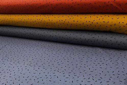 Baumwolljersey, schwarze geometrische Muster auf einfarbigem Hintergrund