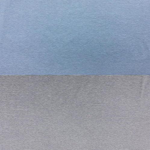 Jerseystoff, Baumwollstoff, dünne Streifenmuster in helltürkis und grau