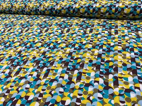 Viskosestoff, abstrakte Punkte, Retro, gelb, blau, braun, weiß