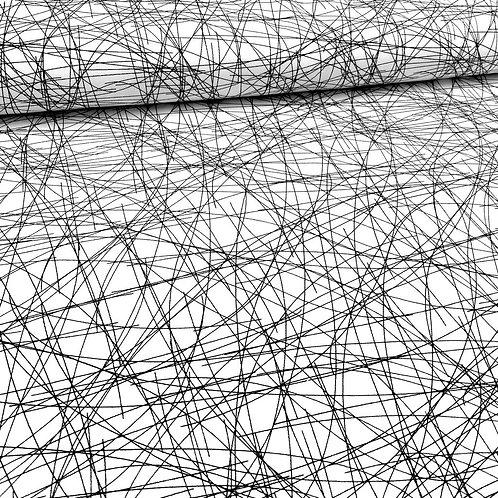 Baumwollstoff, Köper, geometrisches Muster, schwarz, weiß