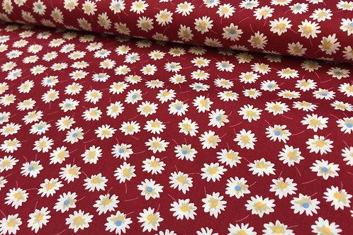 Baumwollstoff, Gänseblümchen auf rotem Hintergrund