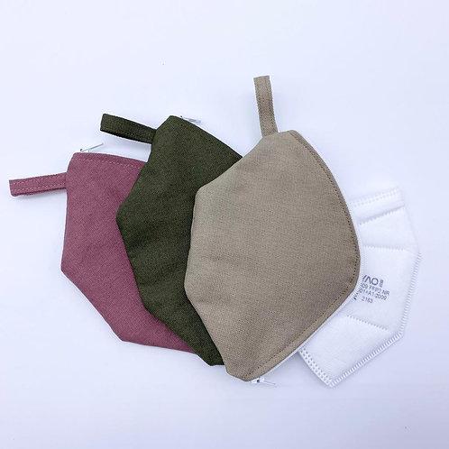 FFP-Mundmaskenhülle aus Baumwollstoff + eine FFP2-Maske, rosa, grün, beige