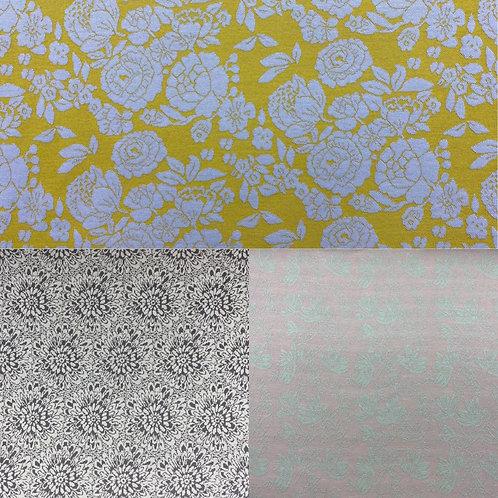 Strick Stoffe,Strick-Jacquard, florale Muster, gelb, grau, weiß, mint