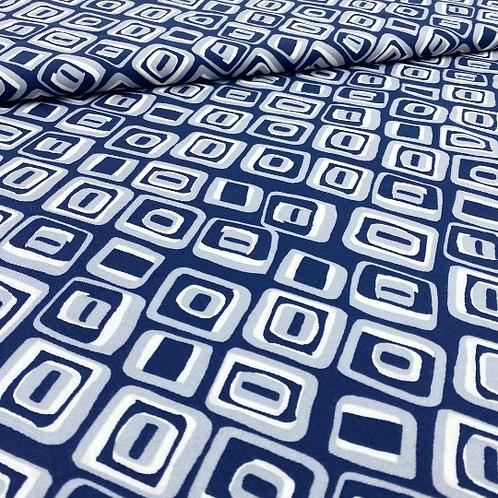 Viskose, Sommerstoff, geometrisches Muster, blau, weiß, grau