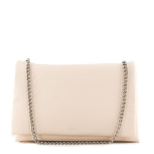Liv 3-Fold 30 Chain Tote Bag / Leder Schultertasche . Ivory Beige Creme