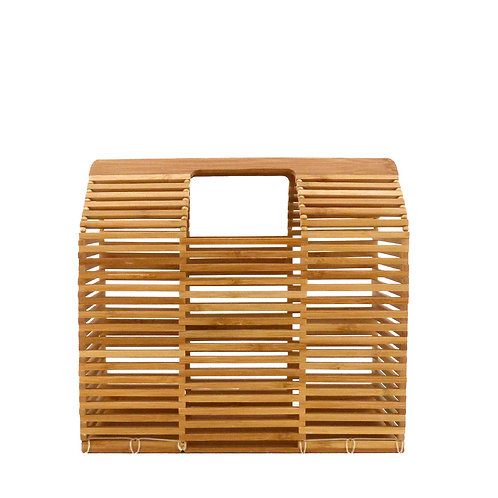 Rouven / Thor Architecture Bamboo Box Bag / M / Nature Wood / Bambus Korb Tasche