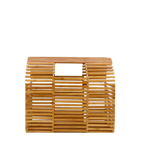 Rouven / Thor Architecture Bamboo Box Bag / S / Nature Wood / Bambus Korb Tasche