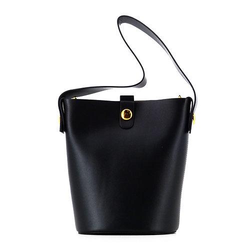 Tilda 17 Leder Tote Bag . Schultertasche . Schwarz