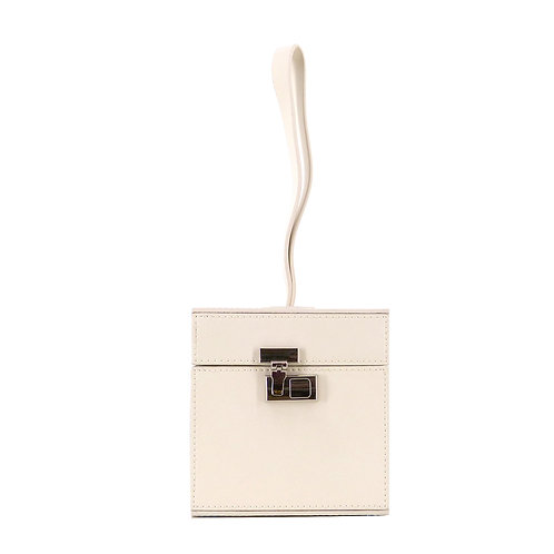 Tuve Cube Leder Mini Box Tote Bag . Handtasche . Clutch .Creme Weiß