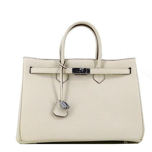 Icone 35 Leder Tasche Classic Creme Beige . Silber