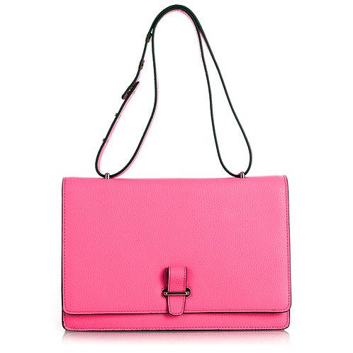 Estelle Tote Box Clutch Bag . Leder Schultertasche . Pink Rosa