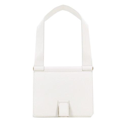 Freda 24 Leder Schultertasche . Weiß