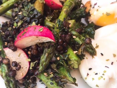 Breakfast roasted radish, asparagus, kale and puy lentils