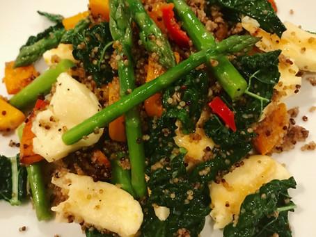 Cavolo nero with roasted squash, asparagus and halloumi