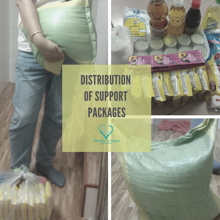 Distribution of Mother's Heart's support package