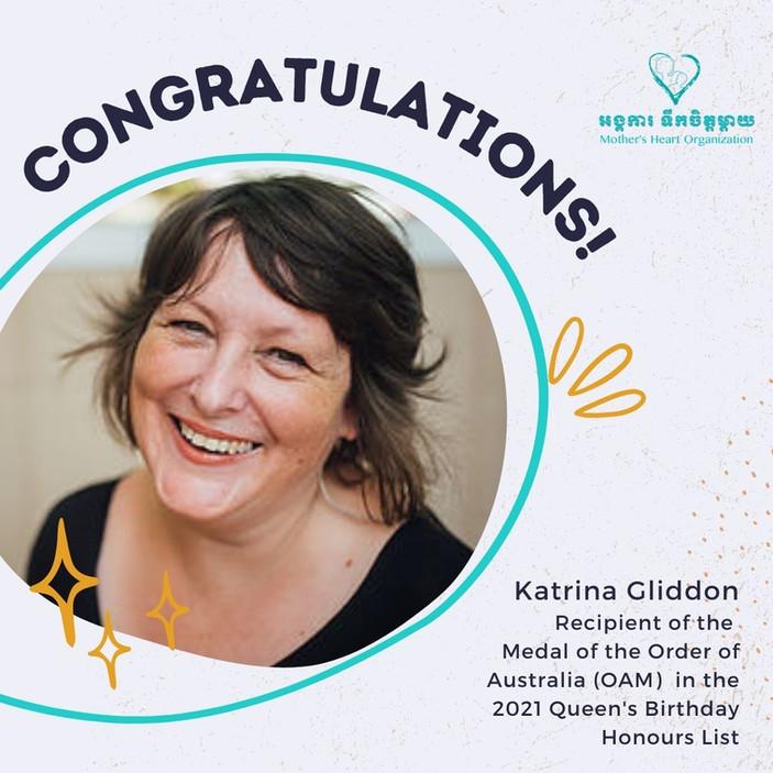 Congratulations, Katrina Gliddon, Order of Australia Medal