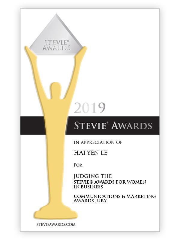 Chứng nhận tham gia làm Ban giám khảo Giải thưởng Stevie Awards