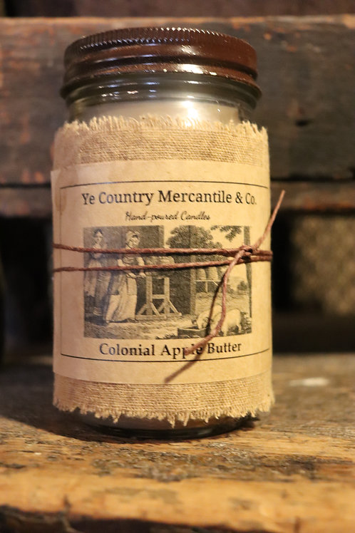 Hand poured 16 oz Jar Colonial Apple Butter