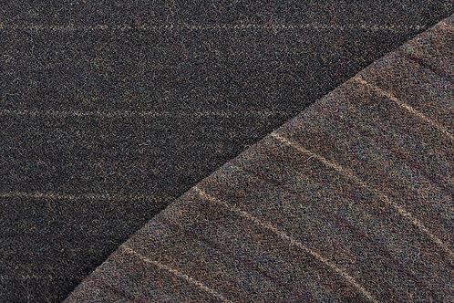 1/2 Yard Mill Dyed Wool Dark or Black Reversible Stripe