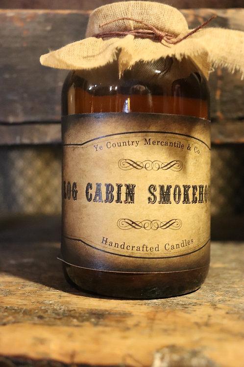Hand poured 16 oz Jar Log Cabin Smokehouse