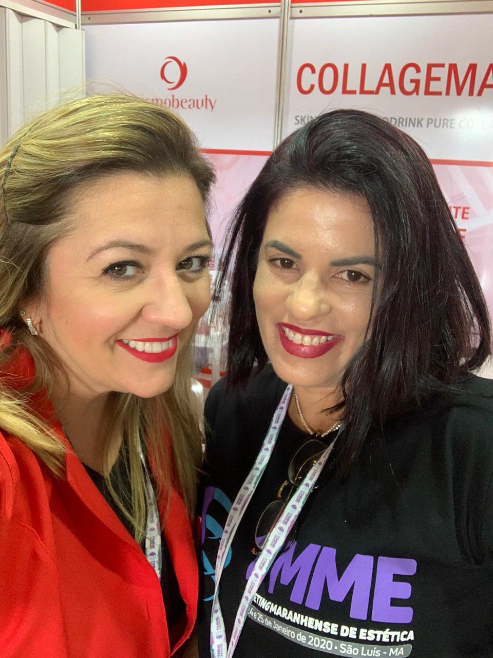 A Gerente Nacional da Cosmobeauty Andreia Pinto e a franqueada maranhense da marca Giselle Araújo Pereira, no I Meeting Maranhense de Estética no Hotel Blue Tree.