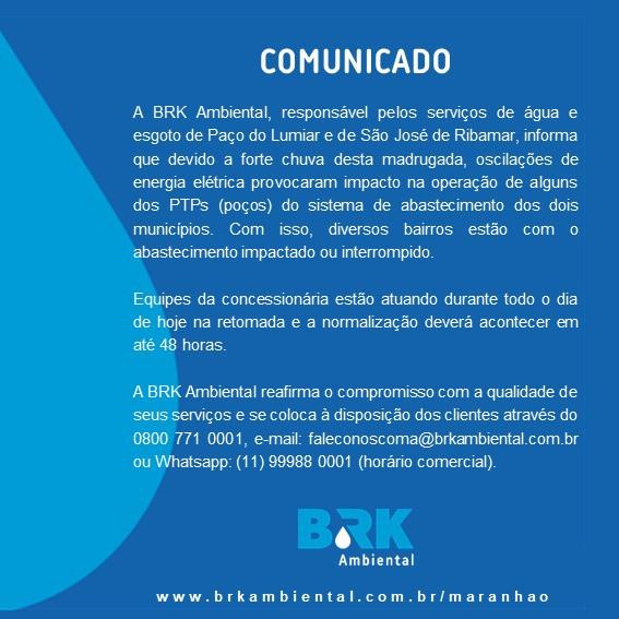 BRK AMBIENTAL COMUNICA IMPACTOS CAUSADOS PELAS CHUVAS EM SEU SISTEMA