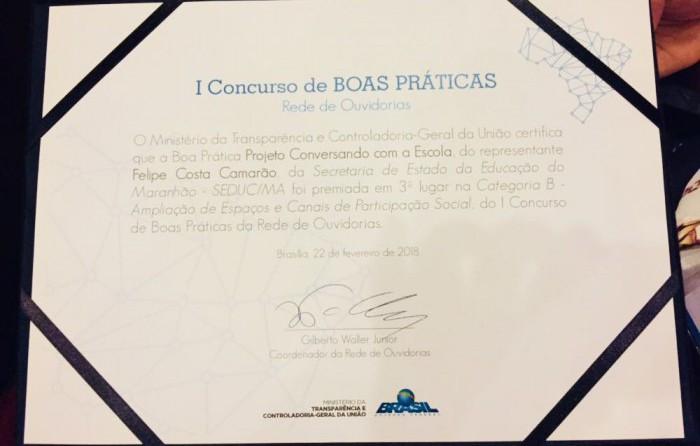 A ouvidora Samira Simas recebeu o prêmio no Rio de Janeiro