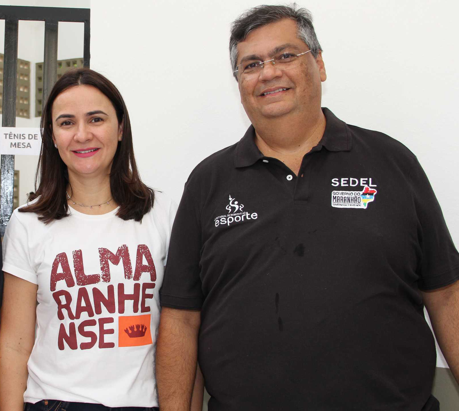 A primeira dama Danielle Lima e o Gov. Flávio Dino na solenidade.