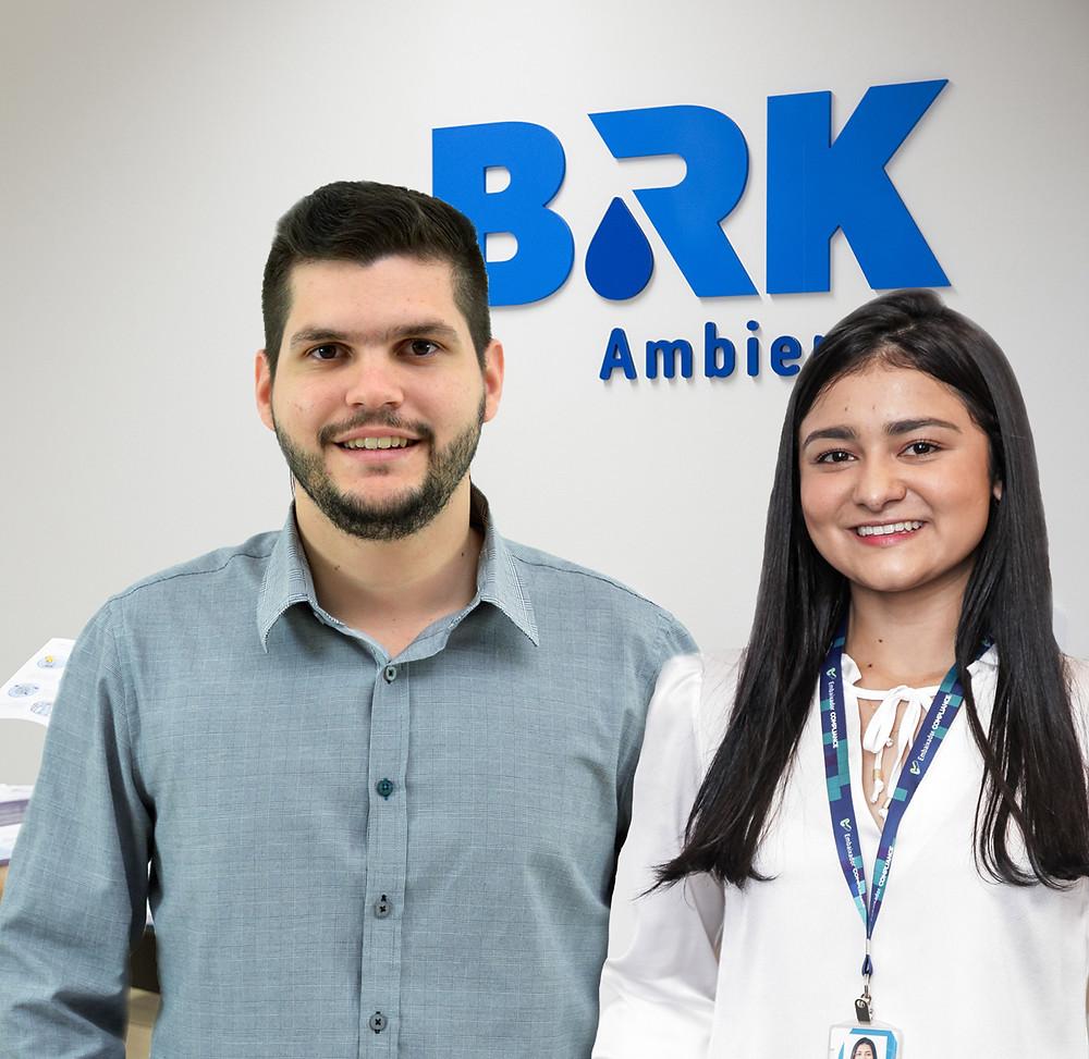 Os ex- estagiários e atualmente colaboradores da BRK Ambiental no Maranhão Lucas Pinheiro e Larissa Brito.