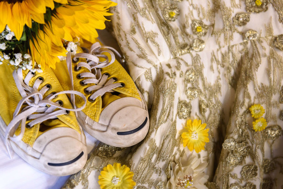A yellow accent wedding