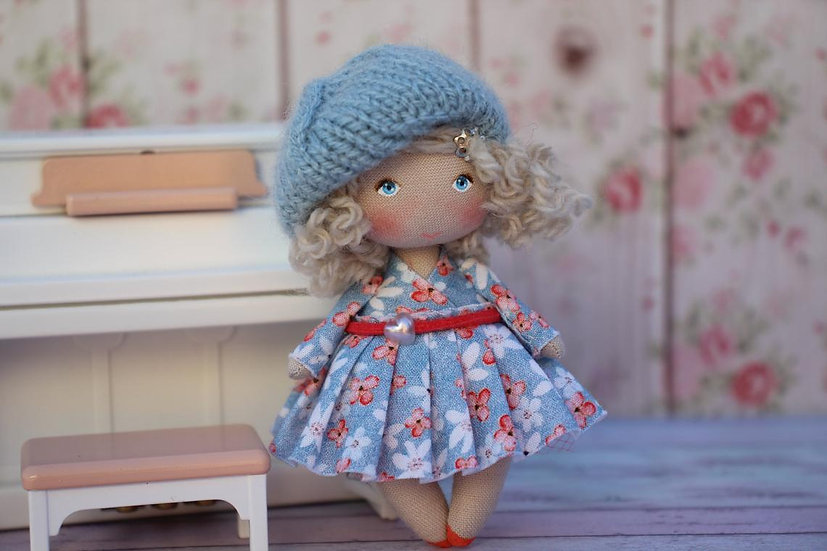 Little collectible handpainted fabric blonde doll for dollhouse 1/12 scale perfect gift