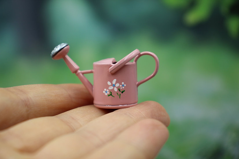 miniature doll watering can, dollhouse watering can, terrarium garden accessory