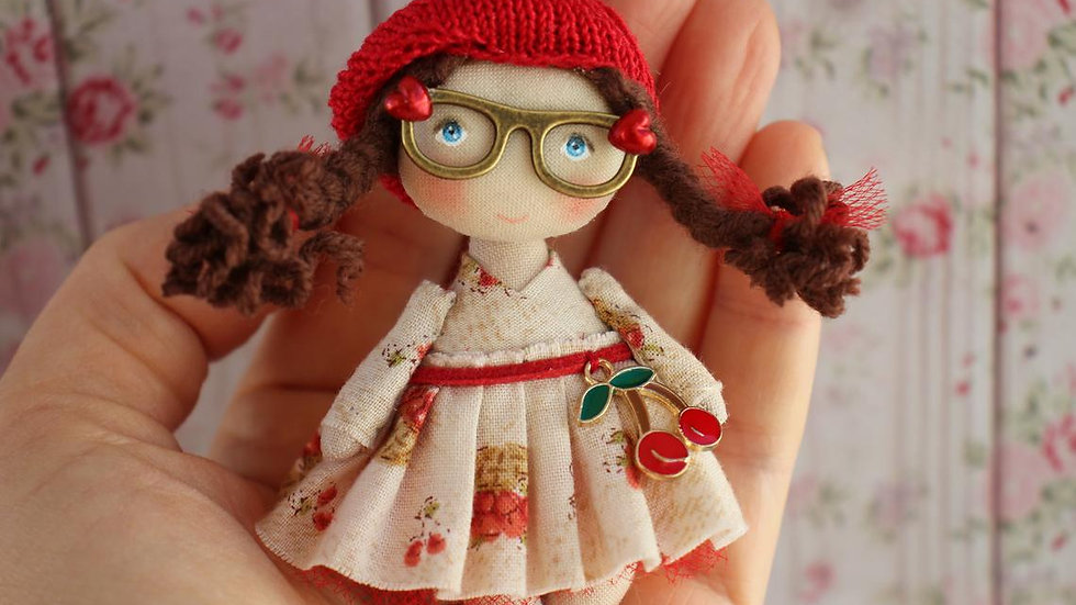 Handmade cute mini fabric doll brown with glasses for dollhouse 1/12 scale in hand